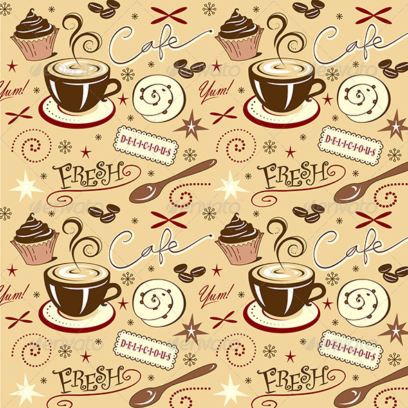 Repeat Pattern Hot Fresh Coffee Shop Sweets - Food Objects