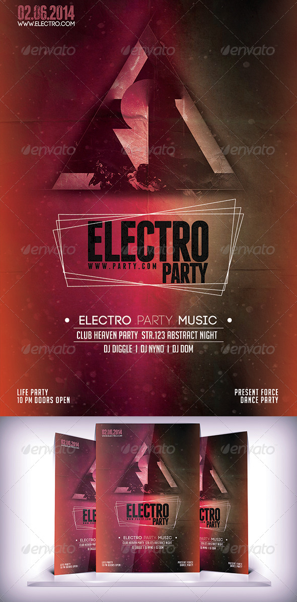 Electro Party Night Flyer - Flyers Print Templates