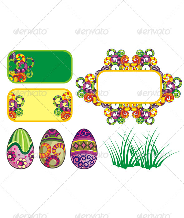 Set of Easter Ornaments and Elements - Seasons/Holidays Conceptual