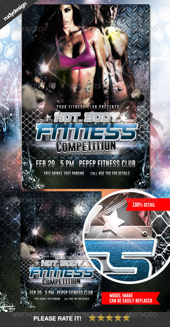 Fitness Gym Workout Competition Flyer - Sports Events