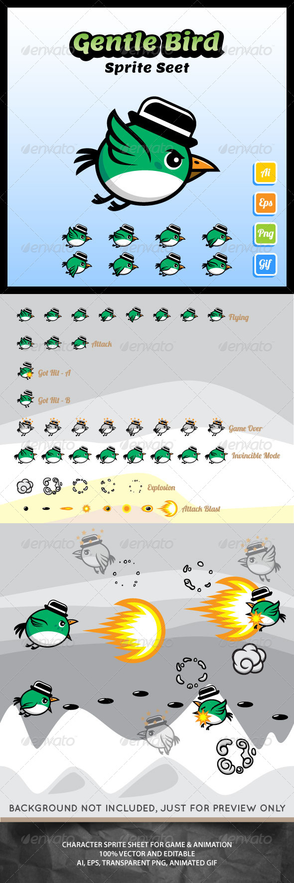 Gentle Bird Sprite Sheet - Sprites Game Assets