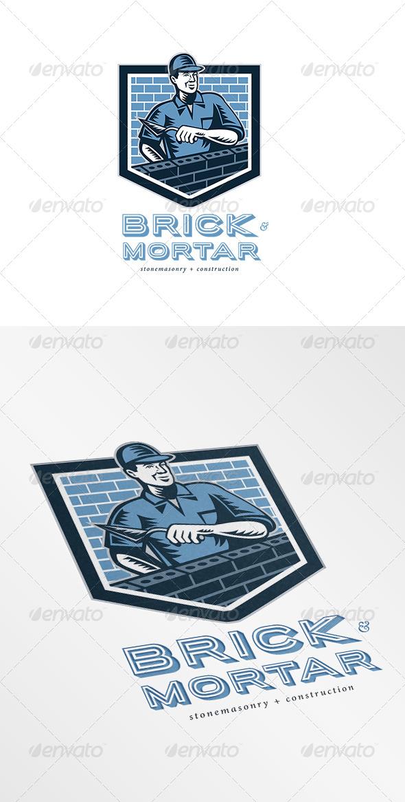 Brick and Mortar Stone Masonry and Construction Lo - Humans Logo Templates