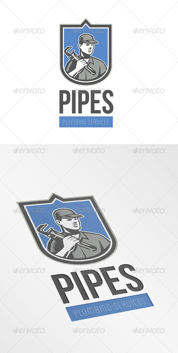 Pipes Plumbing Services Logo - Humans Logo Templates