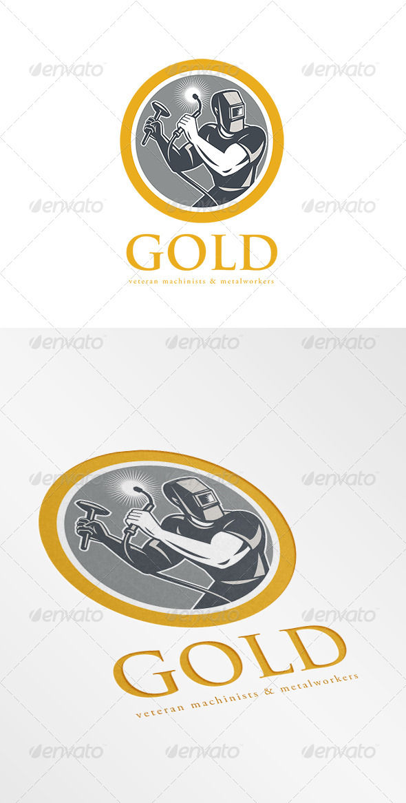 Gold Veteran Machinist and Metalworkers Logo - Humans Logo Templates