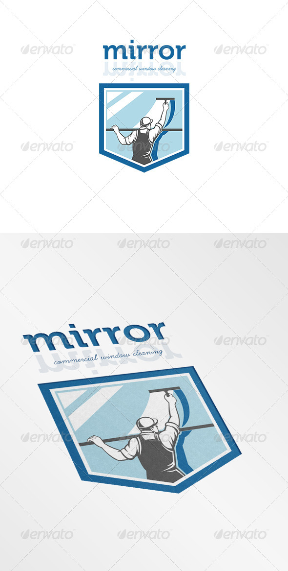 Mirror Commercial Window Cleaning Logo - Humans Logo Templates