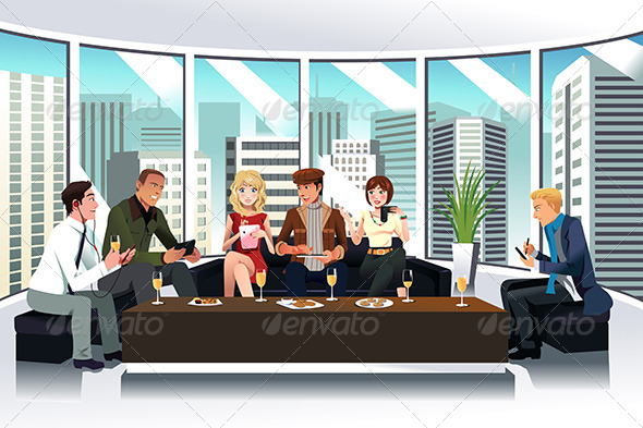 People in a Lounge Using Electronic Gadgets - Business Conceptual