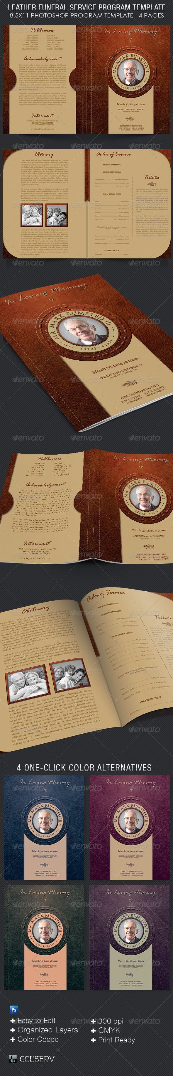 Leather Funeral Program Template - 4 Pages - Informational Brochures