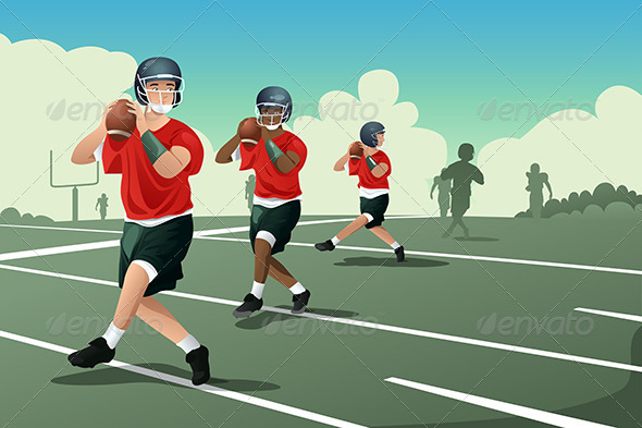 Kids in American Football Practice - Sports/Activity Conceptual