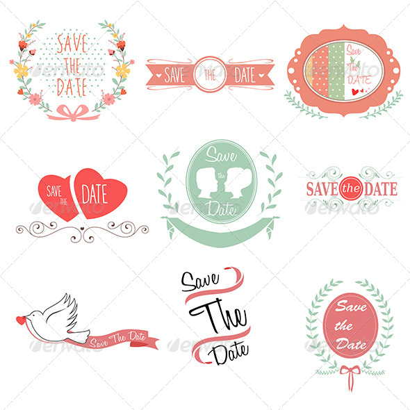 Save the Date for Wedding - Decorative Vectors