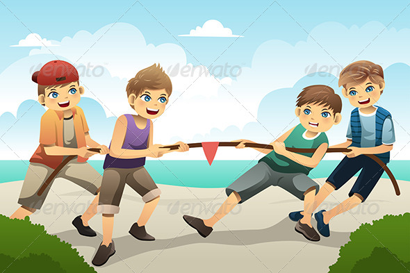 Kids in Tug of War - Sports/Activity Conceptual