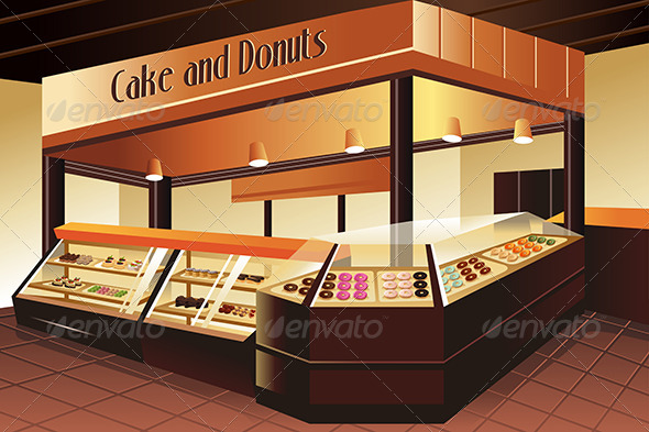 Grocery Store: Cake and Donuts Section - Retail Commercial / Shopping