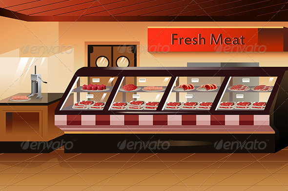 Grocery Store: Meat Section - Retail Commercial / Shopping