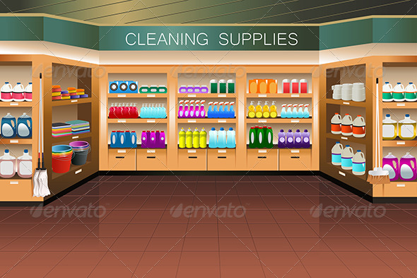 Grocery Store: Cleaning Supply Section - Retail Commercial / Shopping