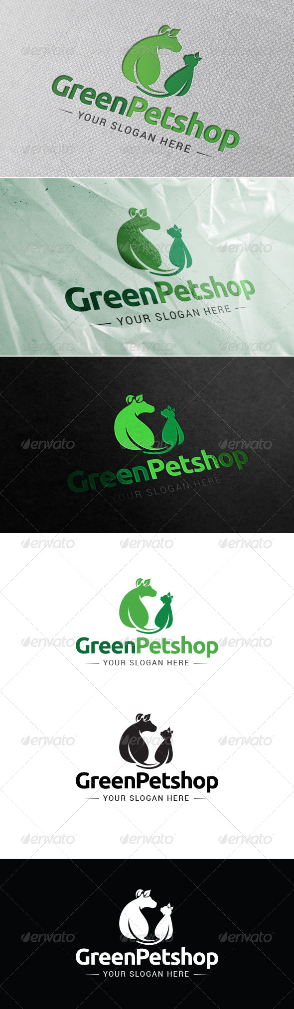 Green Petshop Logo Template - Animals Logo Templates