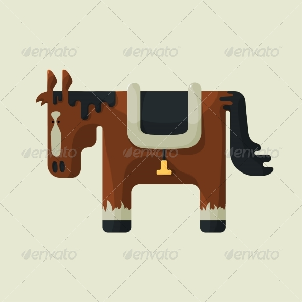 Brown Square Shape Horse - Animals Characters
