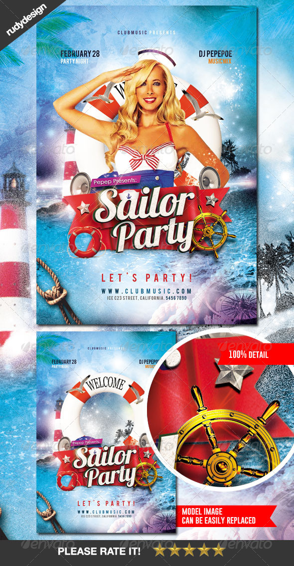 Sailor Marine Beach Seaman Costume Party Flyer - Clubs & Parties Events