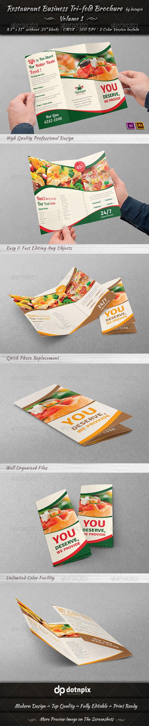 Restaurant Business Tri-Fold Brochure | Volume 1 - Corporate Brochures