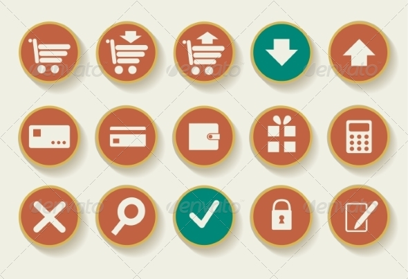 Set of Shopping Icons - Decorative Symbols Decorative