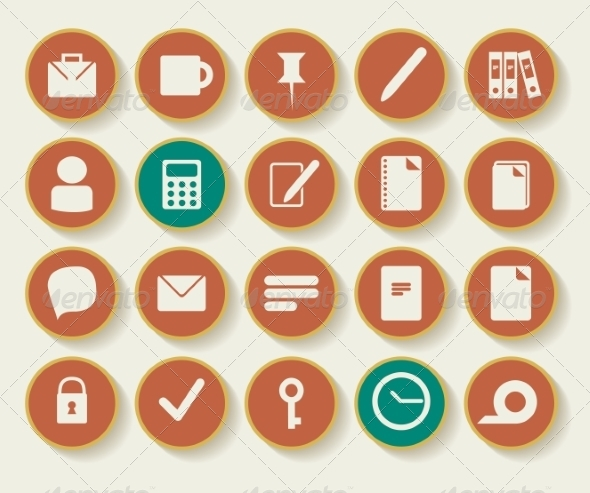 Business and Office Icons with White Background - Decorative Symbols Decorative
