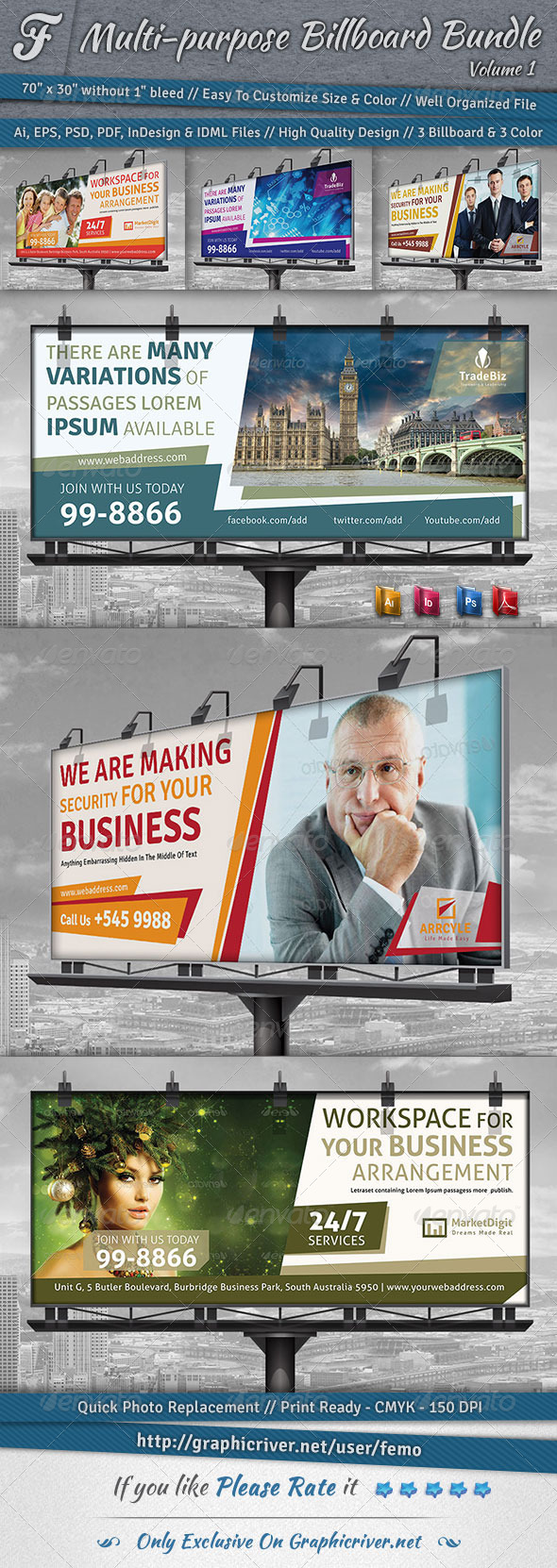 Multi-purpose Billboard Bundle | Volume 1 - Signage Print Templates