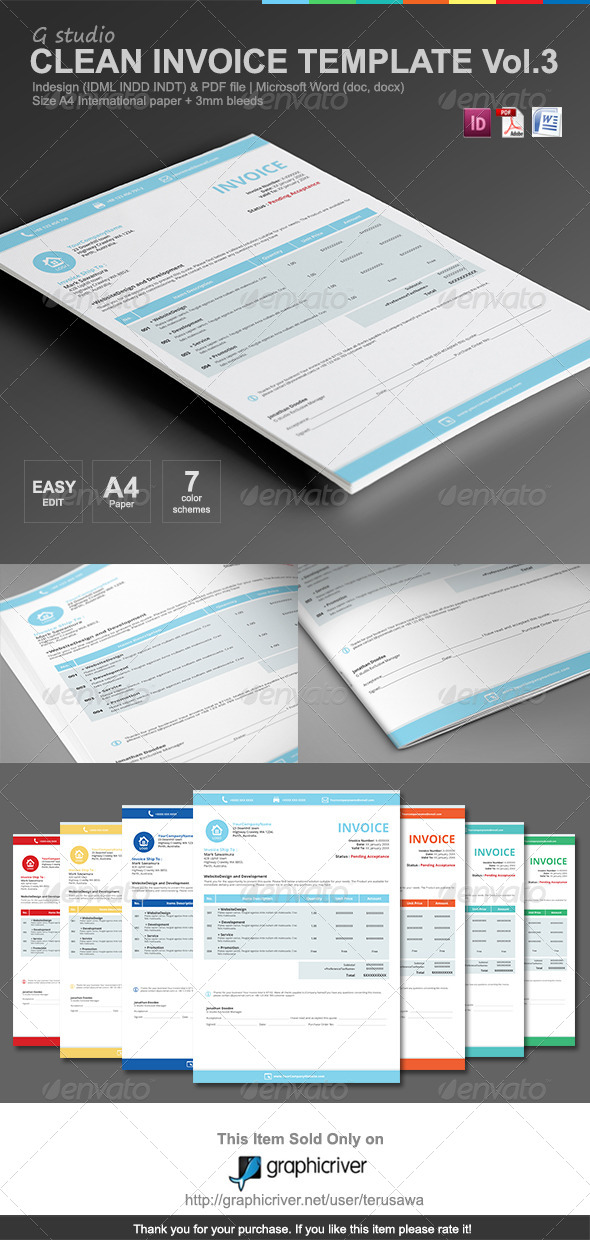 Gstudio Clean Invoices Template Vol.3 - Proposals & Invoices Stationery