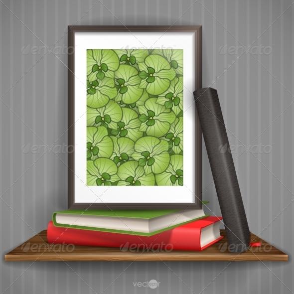Wood Shelf With Photo Frame - Borders Decorative