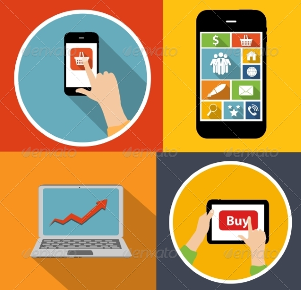 Online Shopping Flat Concept - Web Technology