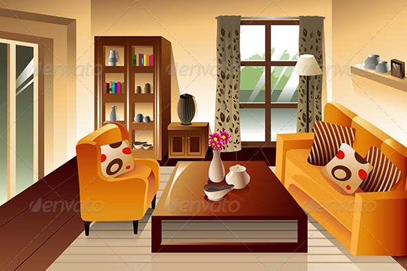 Modern Living Room Space - Buildings Objects