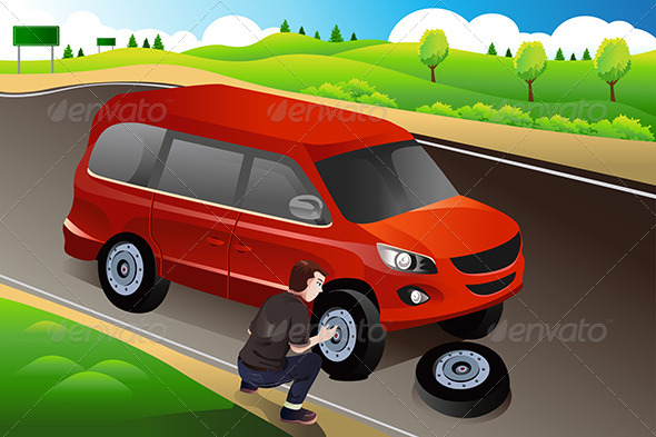 Man Changing Flat Tire - People Characters