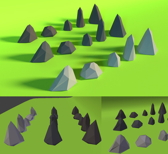 LowPoly Stones .Pack3 - 3DOcean Item for Sale
