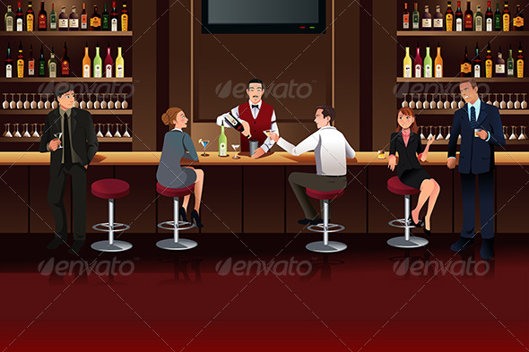 Business People in a Bar - Business Conceptual