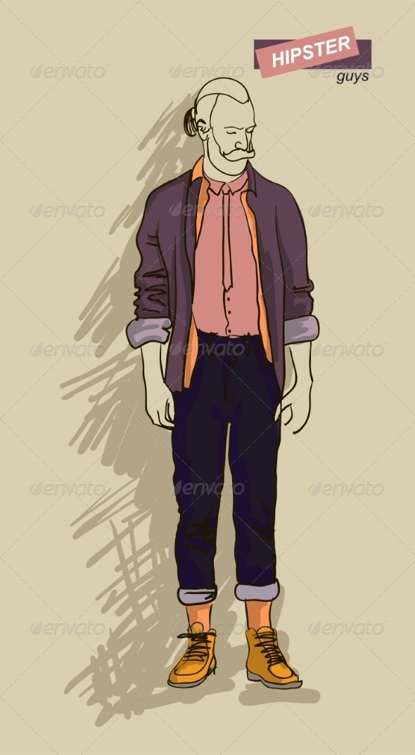 Hipster Man in Fashion - People Characters