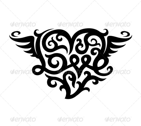 Tattoo with Love Heart Symbol - Abstract Conceptual