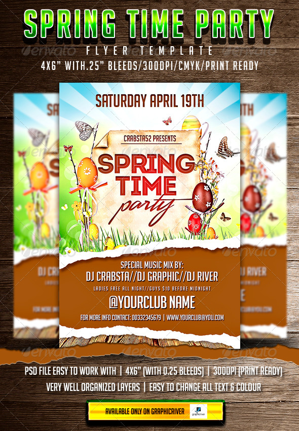 Spring Time Party Flyer Template  - Clubs & Parties Events