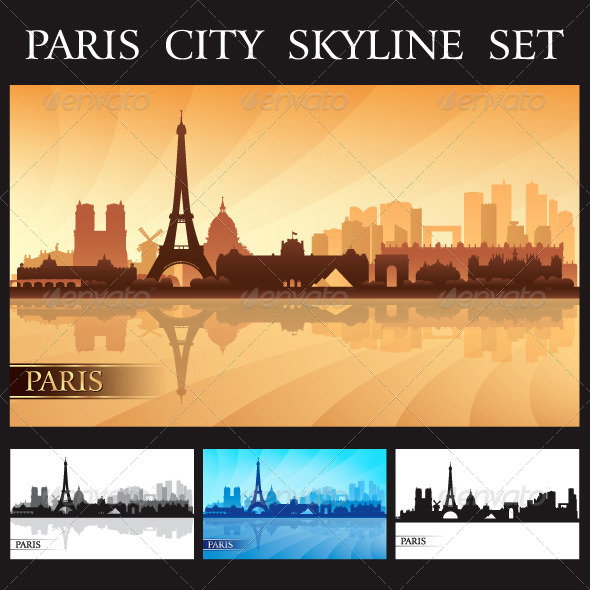 Paris City Skyline Silhouettes Set - Backgrounds Decorative