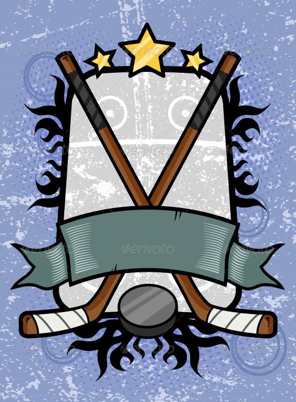 Hockey Emblem - Backgrounds Decorative