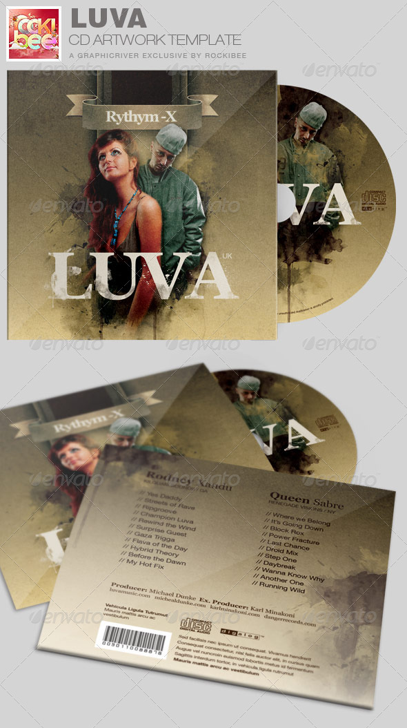 Luva Album Release CD Artwork Template - CD & DVD Artwork Print Templates