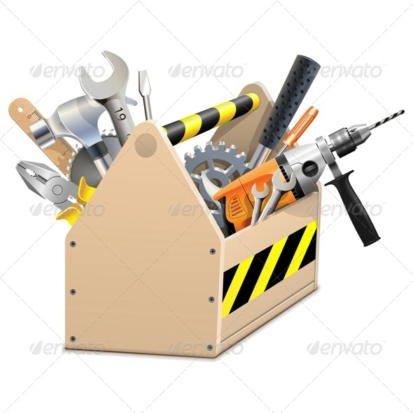 Wooden Box with Tools - Industries Business