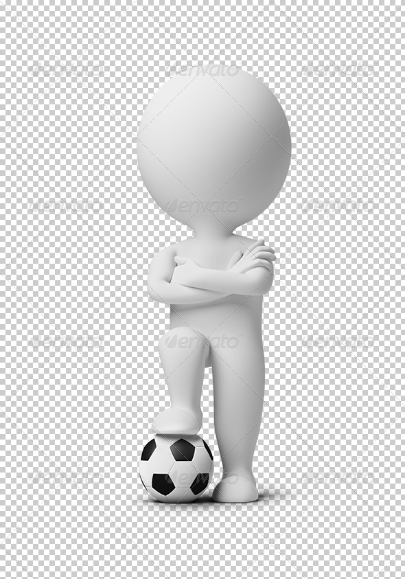 3D Small People - Soccer Player with a Ball - Characters 3D Renders