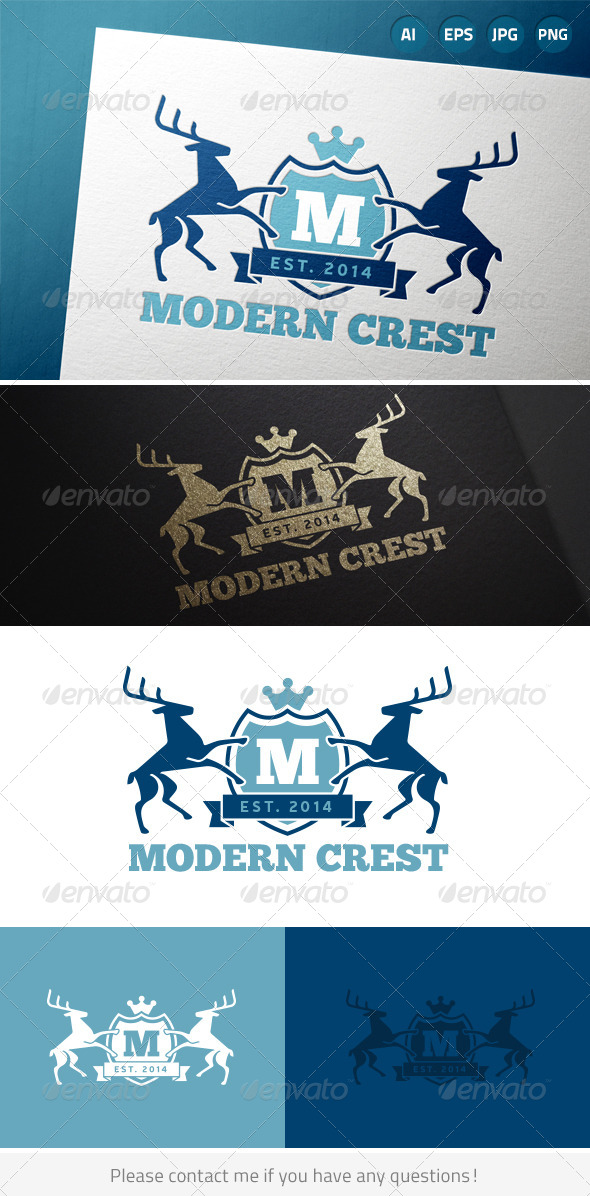 Modern Shield Crest - Crests Logo Templates