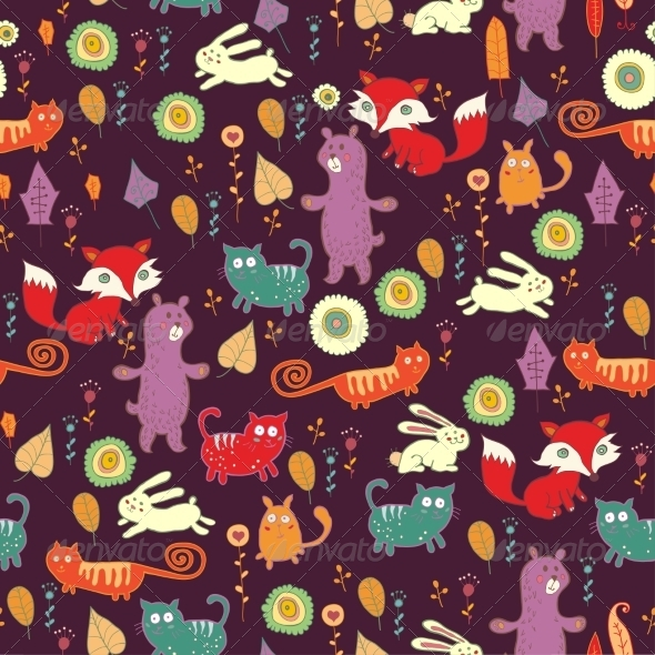 Autumn Forest Seamless Pattern - Patterns Decorative