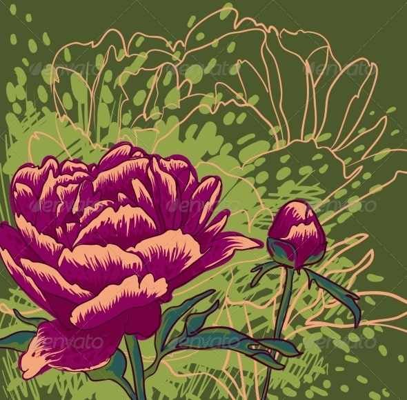 Peony Flower - Decorative Symbols Decorative
