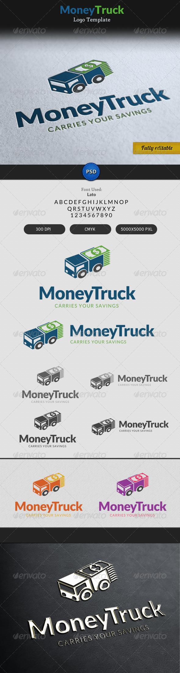 Money Truck Transportation Currency Logo - Objects Logo Templates