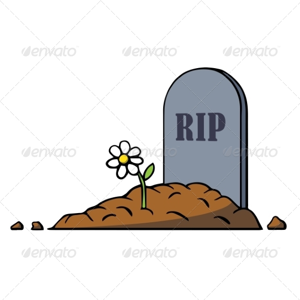 Cartoon Grave with Tombstone and Flower - Man-made Objects Objects