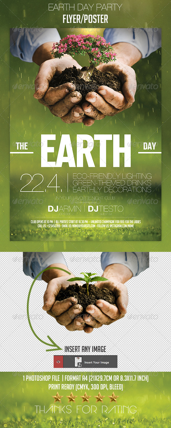 earth day party flyer  poster by jvitasek