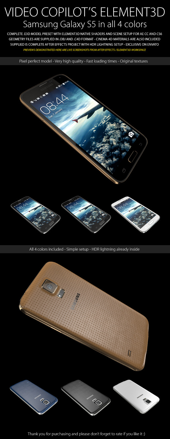 Element3D - Samsung Galaxy S5 - 3DOcean Item for Sale