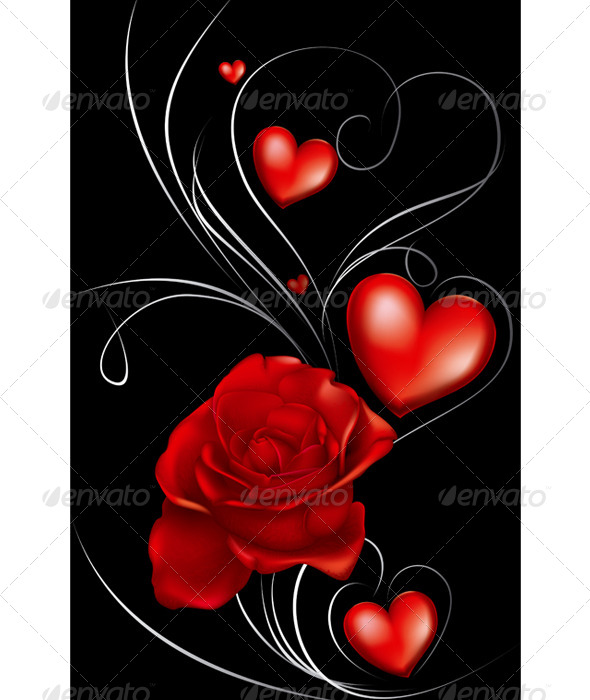 Dark Red Roses and Heart - Decorative Symbols Decorative