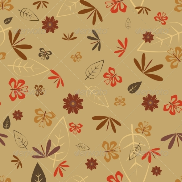 Seamless Dragonfly and Butterfly Pattern - Flowers & Plants Nature