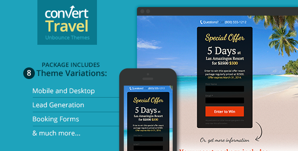 Travel & Tourism Landing Page – Unbounce Template