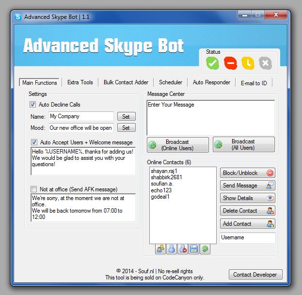 Advanced Skype Bot